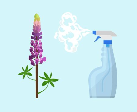 Pesticide or insecticide spray in bottle for plants, herbs vector illustration flat style. Garden greenery crop harvest pest and disease protection concept.