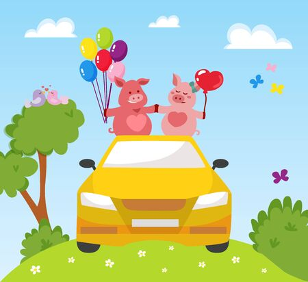 Couple two happy pink pigs in love driving by car with air balloons holding hands vector illustration. Saint Valentines day or wedding invitation greetings card. Vecteurs