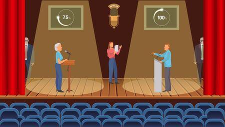 TV-Live-Streaming-politische Debatte mit Stimmenzählungsvektorillustration. Zwei Gegenkandidaten, Mann und Frau, Moderator und Leibwächter. Wahlkampfkonzept.