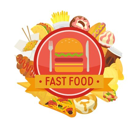 Fast food round frame composition vector illustration. Set of fast food items for menu, label, poster, banner and coupon, voucher for cafe, restaurants. Ilustração