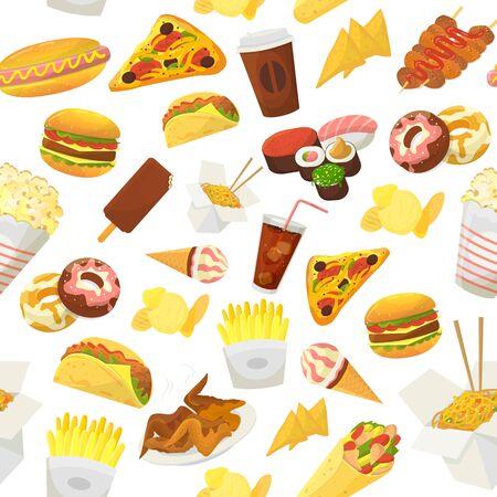 Ilustración de vector de patrón de comida rápida. Hamburguesa, pizza, pollo asado y helado de sushi de palomitas de maíz aislado sobre fondo blanco. Fondo de pantalla con comida rápida.