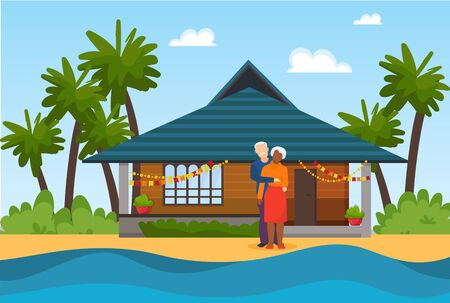 Couple elderly senior people on beach near sea water vector illustration. Beautiful decorated house in background. Travel for rest or celebrating marriage anniversary. Illustration