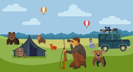 Hunter with dog and rifle hunt for wild animals outdoors looking prey through binoculars. Hunting season vector illustration. Bear, fox, wild boar as a trophy.