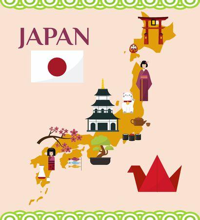 Japan tourism and travel concept vector illustration. Map of Japan with Japanese landmarks and symbols. Itsukushima shrine, flag, sakura, pagoda, bonsai, maneki neko.