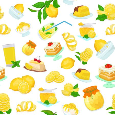 Lemon fruits food sweets desserts pattern flat style vector illustration. Yellow lemony citrus cakes, jam, ice cream, biscuits, slices and leaves, juice, lemonade. Çizim