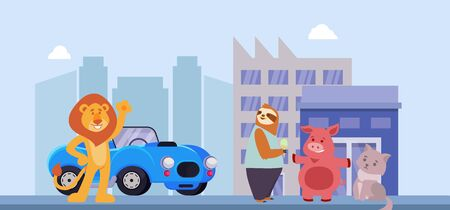Happy smiling lion and friends cute funny animals in city street cartoon flat vector illustration. Lion meeting sloth, pig, cat and shows new purchase car. Vectores