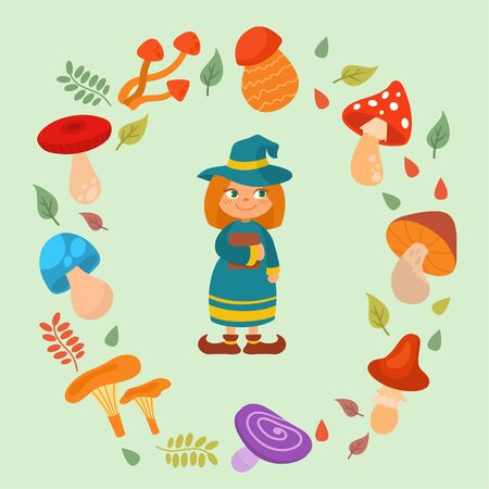 Halloween cartoon vector illustration. Cute funny smiling little girl witch holding book in frame of different mushrooms as toadstool, fly agaric . Halloween celebration.