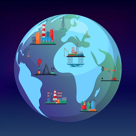 Oil mining production concept vector illustration. Planet earth globe with oil and gas obtain industry facilities. On land construction and at ocean offshore platform.