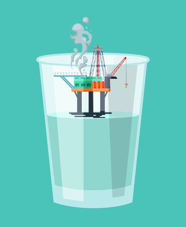 Oil and gas mining industry production concept flat vector illustration. Offshore oil facility platform construction derrick rig inside clear plastic cup with water.