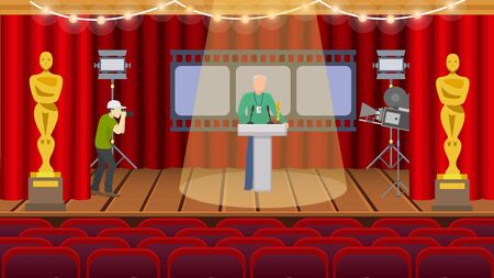 Oscar american ceremony rewarding repetition preparation hall vector illustration. One man with badge standing on stage in spotlight, second takes photo on camera. Illustration