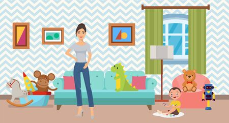 Woman and little son at home in flat interior vector illustration. Modern decorated clean comfortable cozy living or childrens room with sofa, armchair and toys. Standard-Bild - 136623033