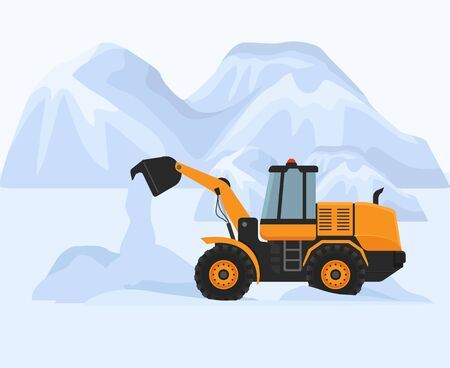 Snow removal in cold winter vector illustration. Snowblower petrol machine yellow tractor works to clean road. White huge mountain snowdrifts in background.