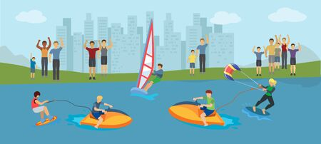 Water sport competition vector illustration. Different kinds of extremal water sport windsurfing, kitesurfing, wakeboarding. Women and men athletes and fans.