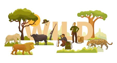Wild nature african animals, plants, trees and men hunters with rifles, backpacks and binoculars vector illustration. Elephant, lion, leopard and buffalo.  イラスト・ベクター素材