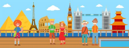 World sights from cruise liner deck vector illustration. Sea cruise traveling people men, women, couples visiting different country and landmarks by ship. 일러스트