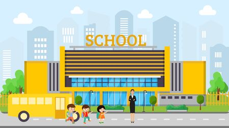 School building facade vector illustration. Yellow school bus brought children girl and boys to learning. Beautiful young woman teacher meets school kids.