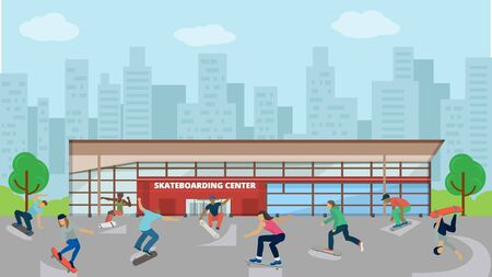 Skateboarders different active people outdoors vector illustration. Skateboarding extreme sport city urban center background man woman boy girl jumping tricks.