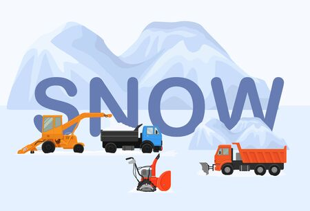Different machines in winter removing snow vector illustration. Big and small crawler snowblowers, lorry, tipper truck. White huge snow drifts background.