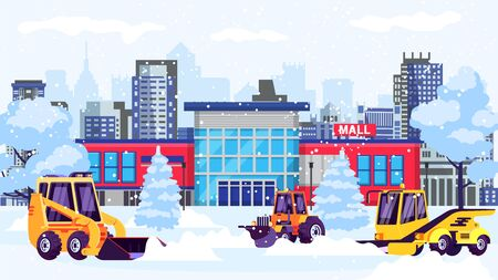 Snow blowers machines clean street at shopping mall building vector illustration. Snowplow, plough, loader, tractor different snow removal equipment works in city in wintertime.