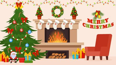 Christmas and New Year decorations for celebration in home room interior vector illustration. Fireplace and xmas tree, armchair. Gift boxes for holiday, Merry Christmas lettering, small Santa, socks.