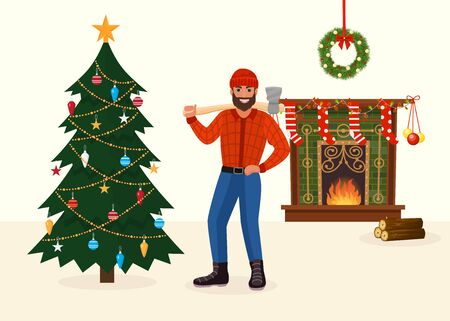 Felled Christmas tree and man with ax in New Year decorated room vector illustration.