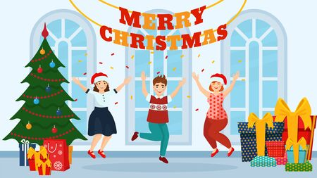 Christmas party celebration people with Christmas tree and gifts vector illustration. Illustration