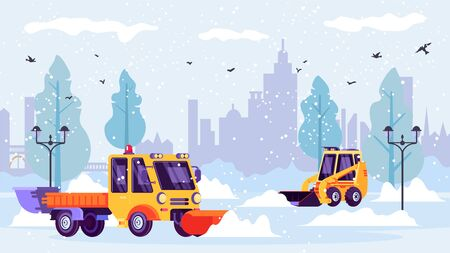 Snow plows machine clean city streets from winter snow drifts vector illustration. 일러스트