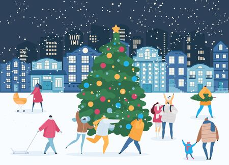 Winter night and people around Xmas tree in Christmas, New Year eve vector illustration. Banque d'images - 136185955