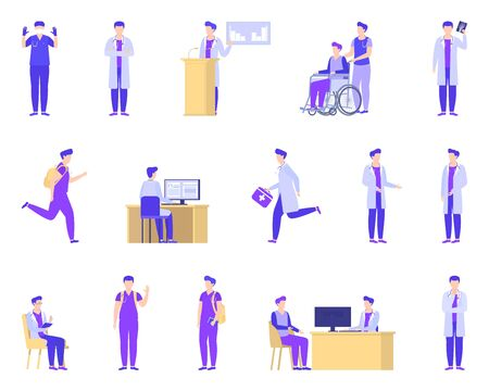 Doctor working in medical clinic, hospital vector illustration isolated set collection. Male ambulance doctor, surgeon, therapist, traumatologist. Wheelchair, stethoscope, computer desk.