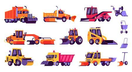 Maszyny śnieżne, odśnieżanie, sprzątanie samochodów, sprzęt wektor ilustracja na białym tle zestaw. Kolekcja ciągników, wywrotek, ładowarek, pługów i łopat do sezonowego zimowego czyszczenia zaśnieżonej ulicy miasta. Ilustracje wektorowe
