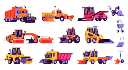 Snow machines, snow removal cleaning cars, equipment vector illustration isolated set. Tractor, dump truck, loader, plow and shovel machinery collection for seasonal winter cleaning snowy city street.