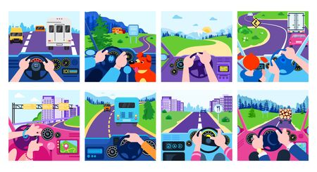 Car driving hands on steering wheel, autos dashboard, road view vector illustration set. Woman, man drivers hands. Traffic in city, nature, different transport. Dog, child, gps navigator inside car. Illustration