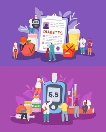 Diabetes vector illustration concept, diagnosis, blood sugar check and control, diet. Tiny diabetes patient and doctors team work. Huge glucometer, medical report, insulin, syringe, test tubes, food.
