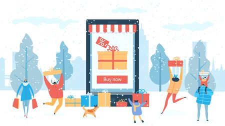 Winter sale shopping online discount for people buying gifts vector illustration. Internet shops sale. Happy families outdoors under snow. Christmas and new year celebration, present boxes. Illustration