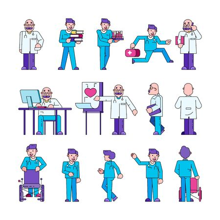 Doctor at work in medical clinic, hospital vector illustration isolated collection set. Doctor or orderly stands with tests and wheelchair, sits at computer desk, runs with first aid kit.