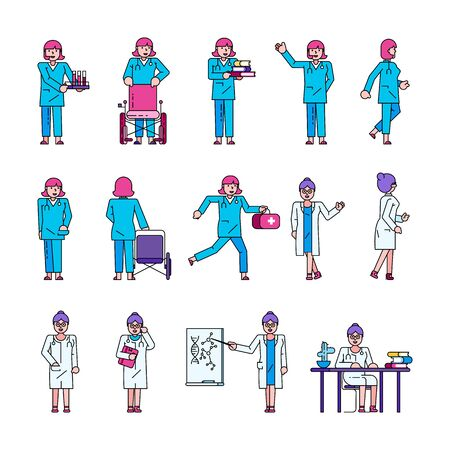Doctor medical worker vector illustration collection isolated set. Female doctor, nurse in hospital stands, sits, runs. Physician with tests, wheelchair, first aid, computer and scientific activities. Illusztráció