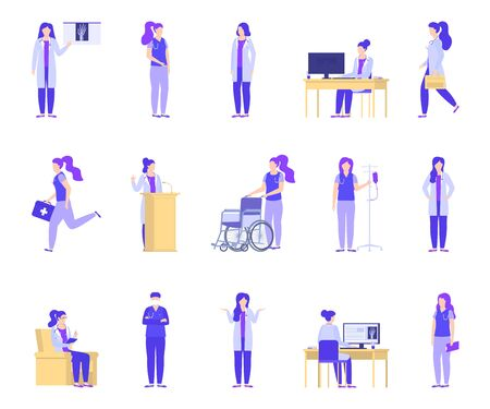 Doctor woman working in medical clinic vector illustration isolated set. Female doctor with dropper, wheelchair, first aid kit, stethoscope. Doctor makes diagnosis, treats, takes healthcare.