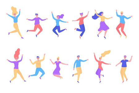 Jumping people men, women, boys, girls vector illustration isolated set. Happy smiling different active young positive people in motion jump, dance, move collection flat style.  イラスト・ベクター素材