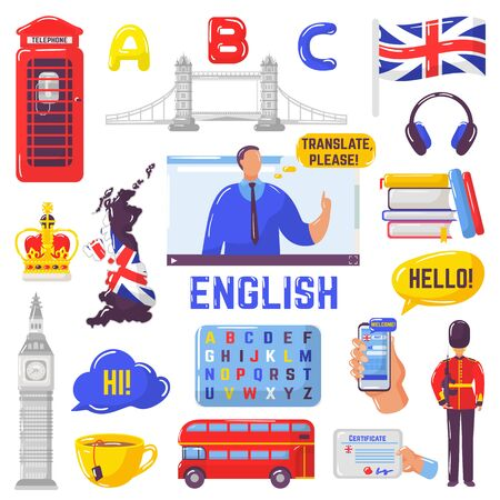 Learning English and tourism to Great Britain vector illustration isolated collection set. English language online study certificate. Headphones, textbooks, alphabet, country map. London landmarks.