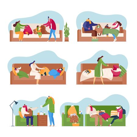 Family in flu season, cold fever people vector illustration isolated set. Sick man, woman, children with influenza with handkerchiefs, scarves and medicines lie, drink tea, warm feet in water basin. Vectores