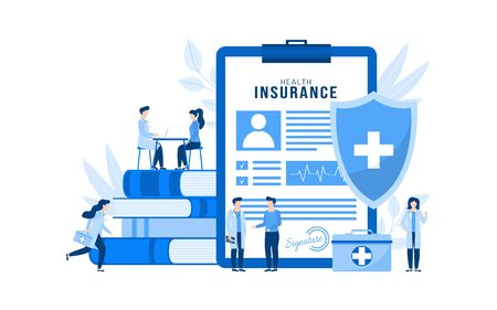 Health insurance vector illustration concept isolated. Huge health insurance form on clipboard. People patients and doctors with first aid kit, stethoscope, xray in medical clinic, hospital. 向量圖像