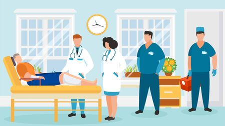 Doctors group visit patient in hospital ward vector illustration. Man with sick injured leg lies in bed. People team doctors and orderlies in clinic room. Healthcare and medical treatment.