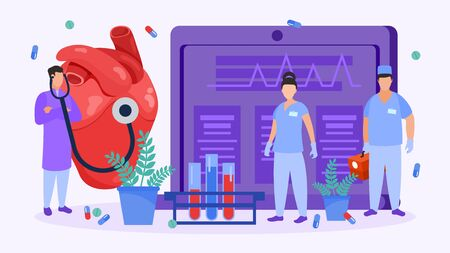 Heart surgery and cardiologists people check heart for medical operation vector illustration. Doctors team with stethoscope, first aid kit, in uniform and surgical gloves. Tablets, pills, test tubes. Illusztráció