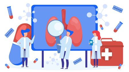 Lungs examination and treatment by doctors team vector illustration isolated. Doctors people with magnifying glass, first aid kit check sick human lungs, take medical tests, prescribe pills treatment.