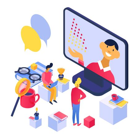 Online learning concept, lecture on laptop screen for students people vector illustration isometric isolated. Positive teacher communicates with listeners online. Books, cups, magnifier, glasses.