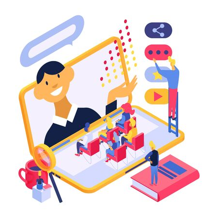 Online training education technology concept vector illustration isometric isolated. People group listen internet conference speaker from laptop screen. Assistants help set up video.
