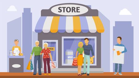 Promoters and shoppers people near milk dairy store vector illustration banner. Product sales promotion counter, girl worker and man with poster near city retail shop. Elderly, young buyers couples.