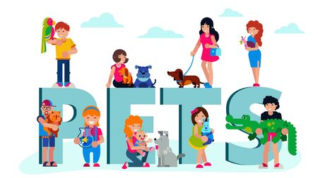 Pets domestic animals with happy owners people, and lettering pets vector illustration isolated. Dogs, cat, aquarium fish, rabbit. Exotic animals parrot, crocodile, snail.
