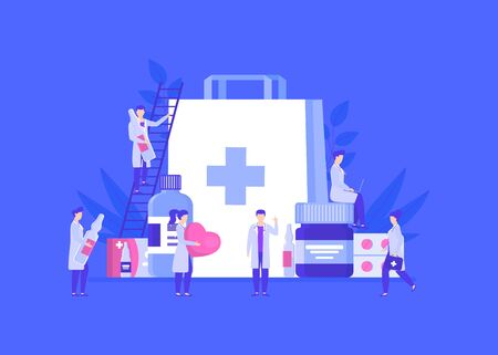 Doctors pharmacists people team among medicines jars, ampoules, pills vector illustration. Man climbs stairs to put medicaments in huge bag. Woman works on laptop. Doctors hold heart, first aid kit.