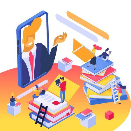Online learning, education concept vector illustration isometric isolated. Students with electronic devices among books stacks. Teacher gives lesson to tiny people group from mobile phone screen.